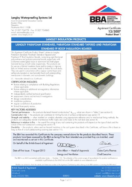 13/5007 Langley Parafoam Standard, Parafoam Standard Tapered and Parafoam Standard FF roof insulation boards