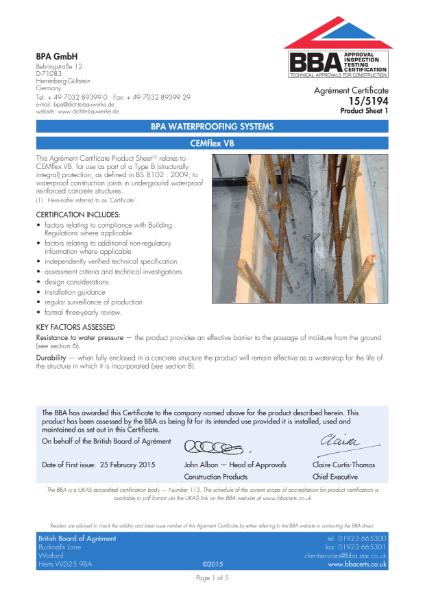 BBA Certificate 15/5194 Triton Cemflex
