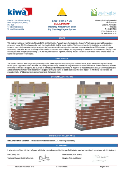 Wetherby KIWA BDA Certification for High Density EPS and Brick Slips