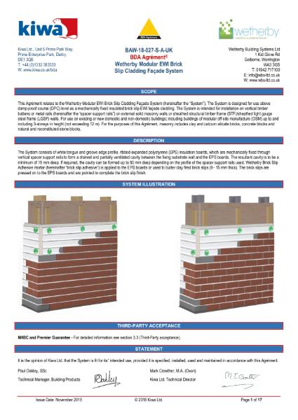Wetherby KIWA BDA Certification for High Density EPS and Brick Slips