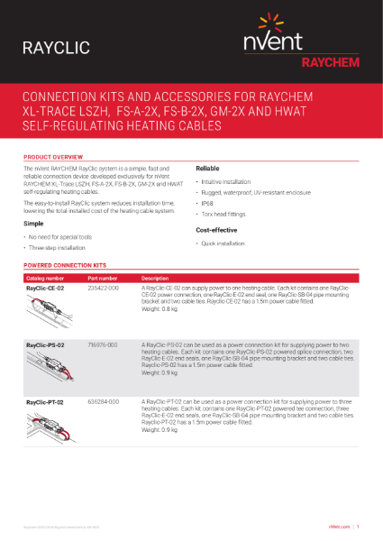 Trace Heating System Interconnection - RAYCLIC - Cold Applied Connection System