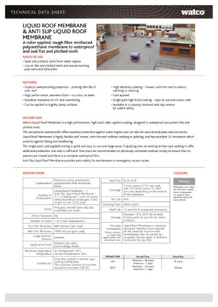 Data Sheet: Liquid Roof Membrane