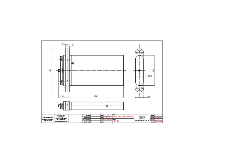 Powermatic R100 concealed door closer dimensional drawing