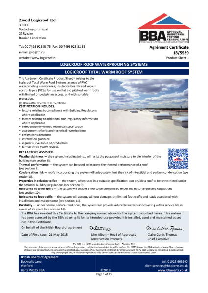 TN LOGICROOF ROOF WATERPROOFING SYSTEMS - BBA Certificate