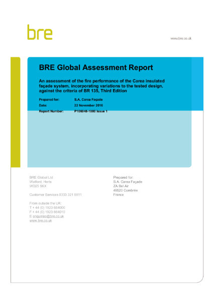 BRE Global Assessment Report