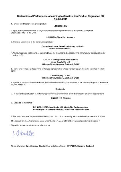 CE Declaration of Performance