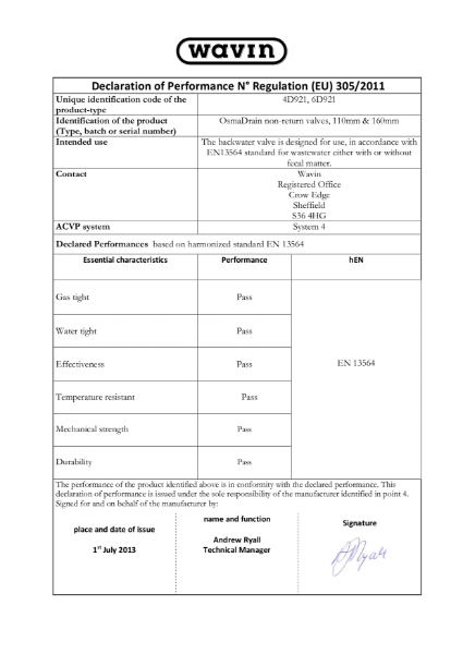 DoP - OsmaDrain non-return valves