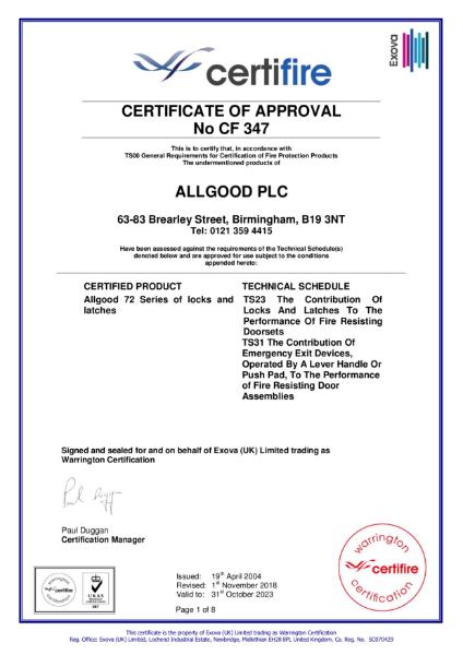 Certifire Certificate CF 347