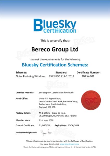 Bereco Acoustic Certificate