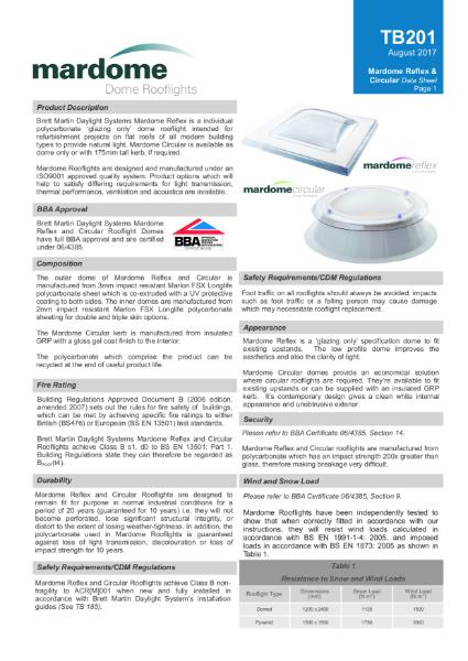 Rooflight Replacement Dome - Brett Martin Mardome Reflex