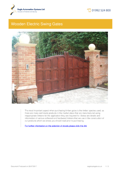 Residential Wooden Electric Swing Gates