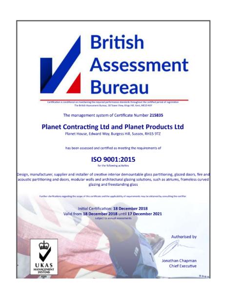 ISO 9001:2015 Certificate Exp Dec 2021