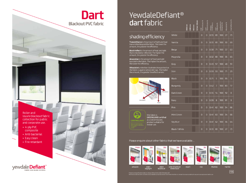 YewdaleDefiant® Dart Blackout PVC fabric for blind systems