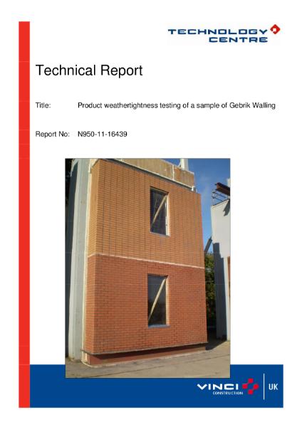 CWCT Test Report - Gebrik Brick Cladding System