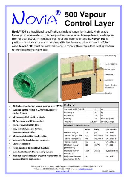 Novia 500 Gauge Polythene Vapour Control Layer
