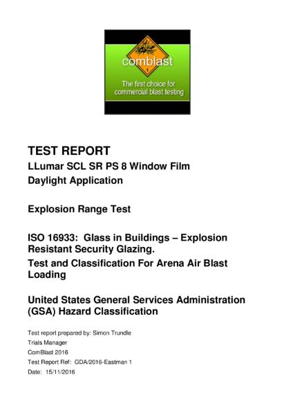 ISO 16933 & GSA Blast test report