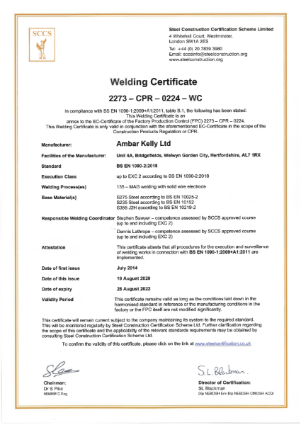 SCCS CE Welding Certificate 19.08.20 to 28.08.22
