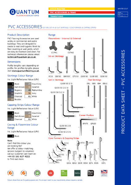 Quantum PVC Skirting and Cap and Cove (for resilient flooring) Product Data Sheet