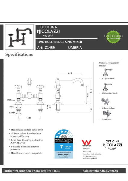 Z1459 Umbria technical specification