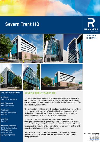 Case Study: Severn Trent HQ, featuring aluminium windows, doors and curtain walls