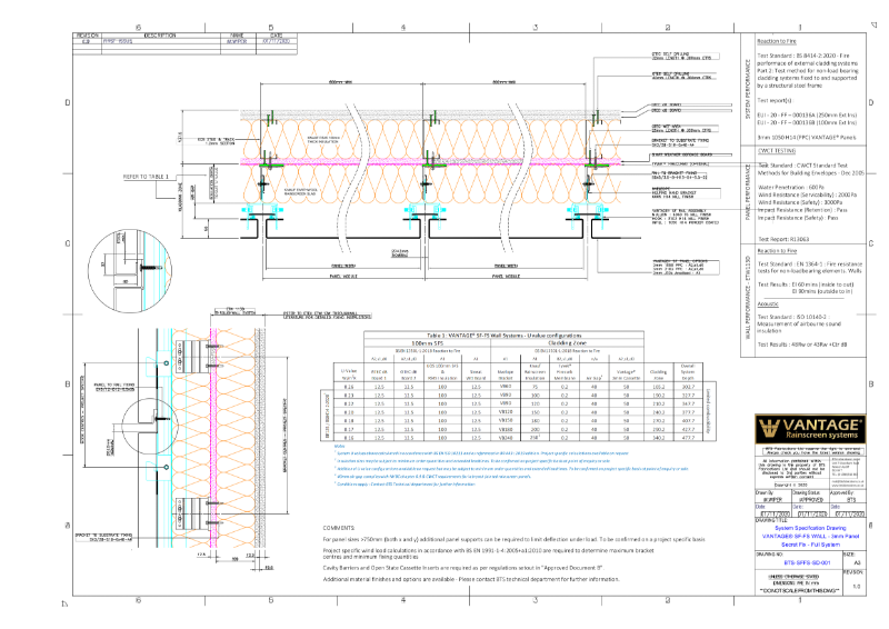 Vantage SF-FS Specification Drawing