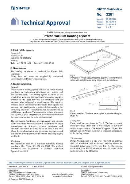 SINTEF Technical Approval 2281 for Protan Vacuum Roofing System