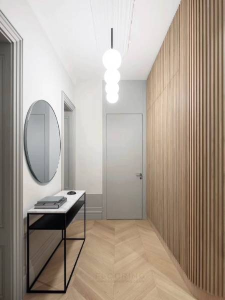 Simple striking corridor with natural facade and flooring