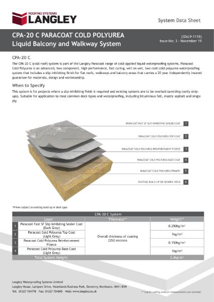 CPA-20 C Paracoat Cold Polyurea Balcony and Walkway System Data Sheet