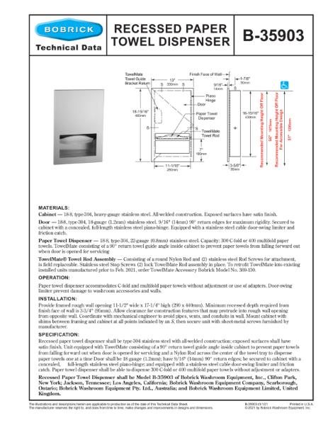 Recessed Paper Towel Dispenser - B-35903