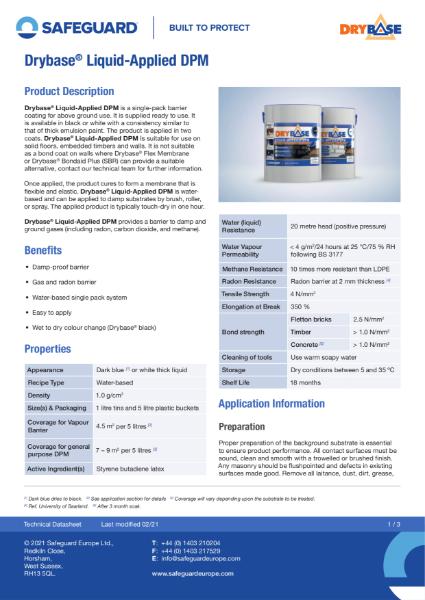 Drybase LDPM Data Sheet