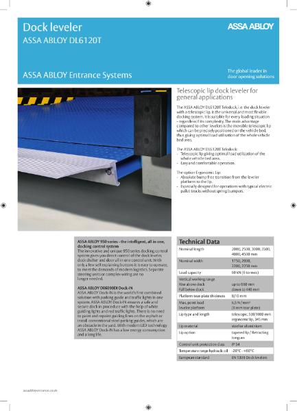 Telescopic lip dock leveller - ASSA ABLOY DL6120T