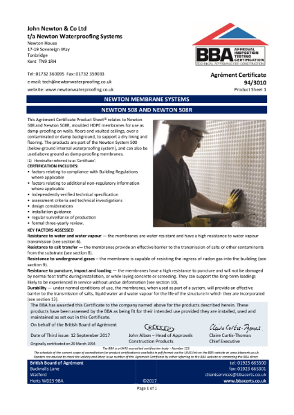 94/3010 Newton Membrane System (Product Sheet 1)