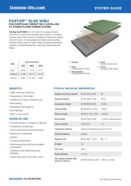 Resin flooring FasTop SL45 WBU screed system