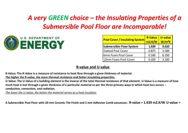 'Green Rating' - Insulating Properties of a Submersible Pool Floor are Incomparable