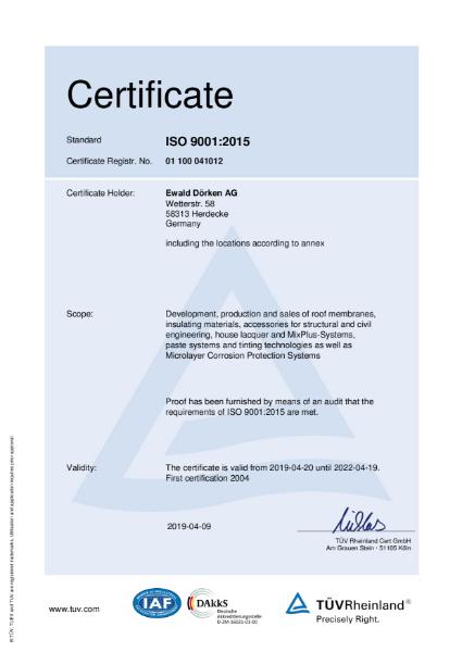Delta ISO Certificate