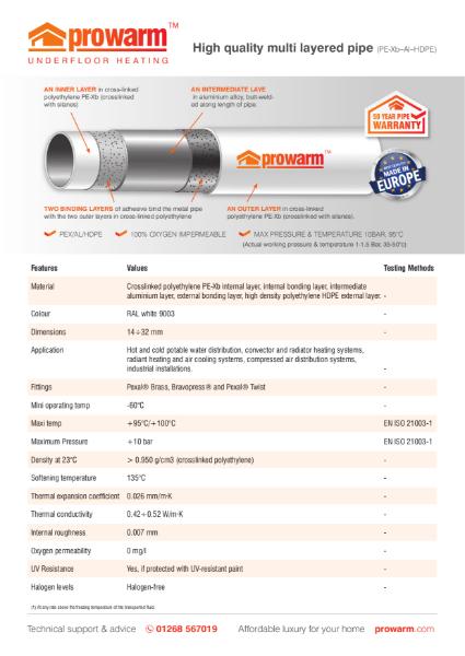 ProWarm Pex-Al-HDPE Pipework