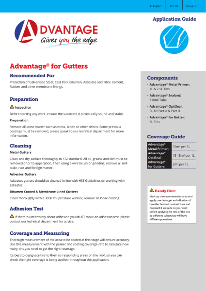 Advantage for Gutters - Application Guide