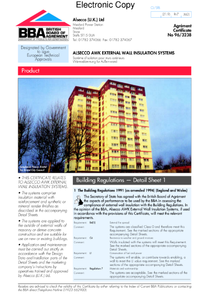 96/3238 Alsecco AWK external wall insulation systems