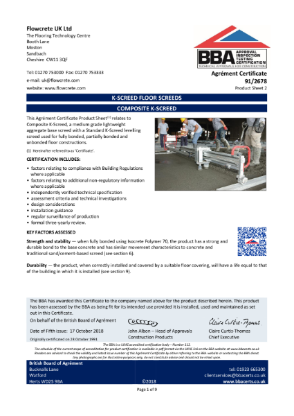 COMPOSITE K-SCREED