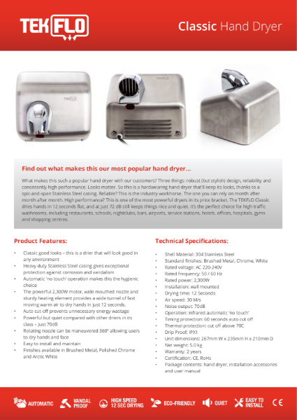 Tekflo Classic Hand Dryer - Technical Specifications