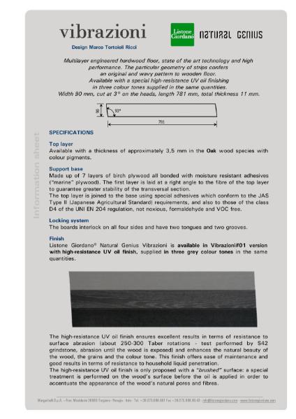 NATURAL GENIUS COLLECTION: Vibrazioni Technical Sheet
