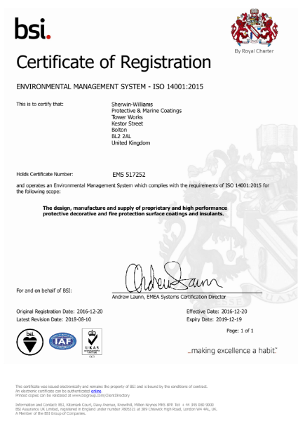 Sherwin-Williams standards certification - ISO 14001