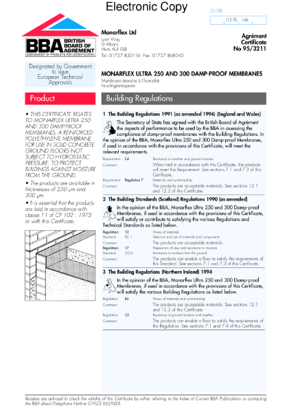 95/3211 Monarflex Ultra damp-proof membranes for solid concrete floors