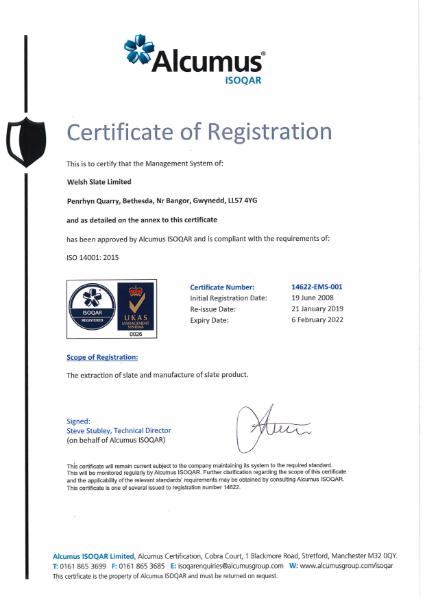 ISO 14001:2015 Penrhyn Quarry