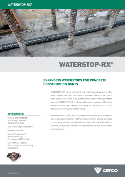 WATERSTOP-RX® - EXPANDING WATERSTOPS FOR CONCRETE CONSTRUCTION JOINTS