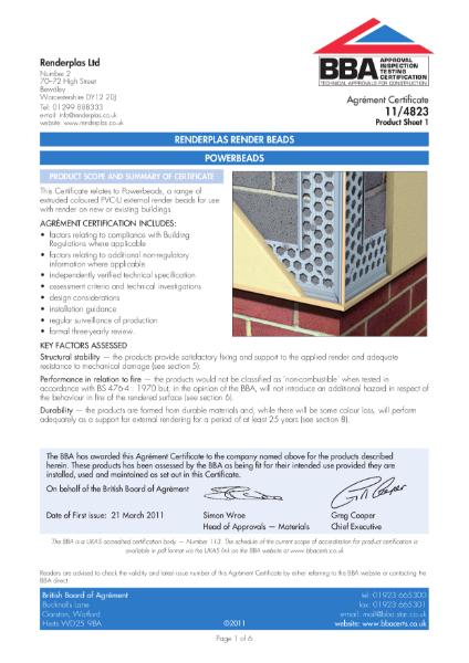 Renderplas PVC Bead BBA Certificate