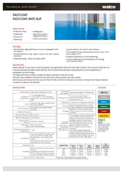 Data Sheet: Fastcoat Range