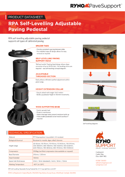 Datasheet - Self-Levelling Adjustable Paving Pedestals