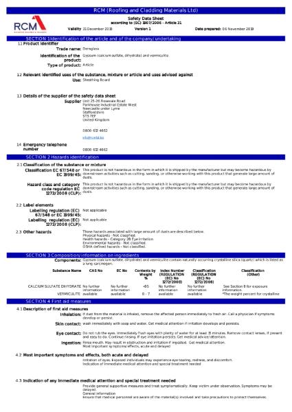 DensGlass Material Safety Data Sheet