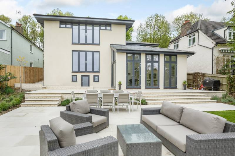 Dual Finish Timber Casement Windows, French Doors and Oak Feature Windows in Bishop Stortford Contemporary Style Double Glazed